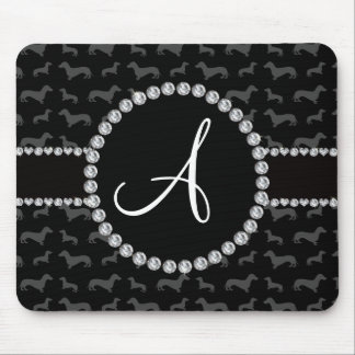 Monogram black dachshund mouse pad
