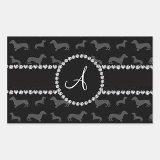 Monogram black dachshund rectangle stickers