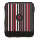 Monogram Black, Dark Red, Barcode Circle Stripe Luggage Handle Wrap