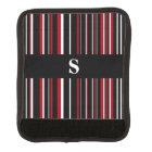 Monogram Black, Dark Red, White Barcode Stripe Luggage Handle Wrap