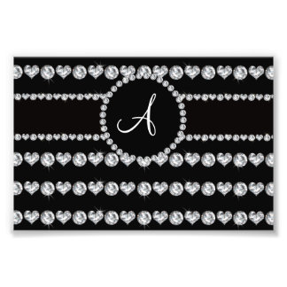 Monogram black diamond hearts stripes photo