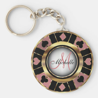 Monogram Black, Dusty Rose & Gold Las Vegas Style Keychain