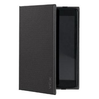 Monogram Black Faux Leather Vintage Look iPad Mini Cover