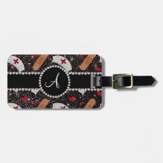Monogram black glitter nurse hats heart luggage tag