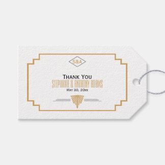 Monogram Black, Gold and White Art Deco Wedding Gift Tags