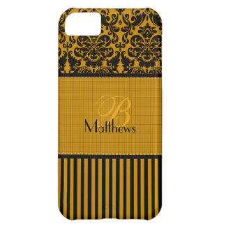 Monogram Black, Gold Damask Stripe iPhone 5 Vibe Cover For iPhone 5C