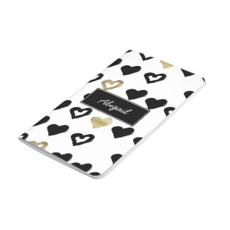 Monogram Black & Gold Heart Notebook