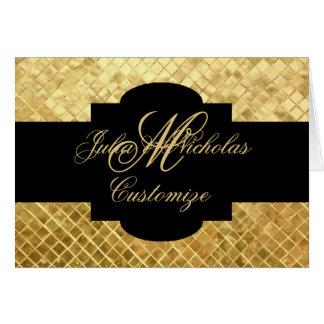 Monogram Black & Gold Mosaic Tiles Note Card