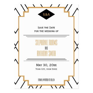 Monogram Black, Gold, White Art Deco Save the Date Postcard