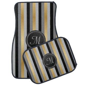 Monogram Black, Gray and Gold Stripes Car Mat