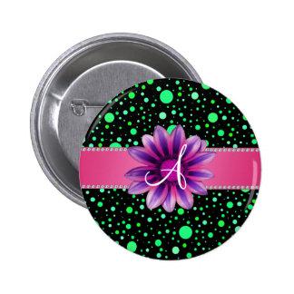 Monogram black green polka dots pink daisy 2 inch round button