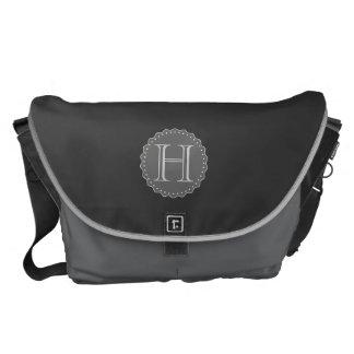 Monogram,Black,Grey,White Messenger Bag