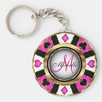 Monogram Black, Hot Pink and Gold Las Vegas Style Keychain