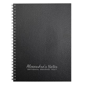 Monogram Black Leather Texture Look Notebook