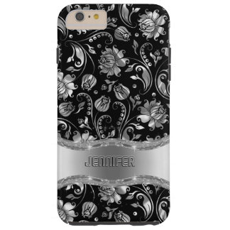 Monogram Black & Metallic Silver Floral Damasks Tough iPhone 6 Plus Case
