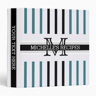 Monogram Black Ming Stripes Pattern Recipes Binder