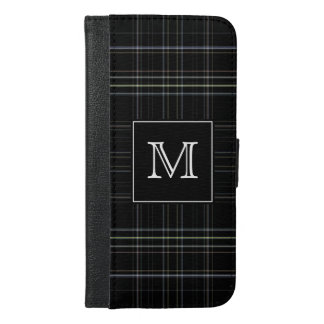 Monogram Black Plaid iPhone 6/6s Plus Wallet Case