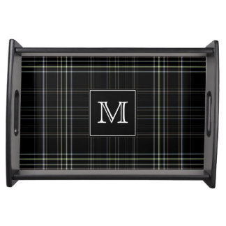 Monogram Black Plaid Serving Tray
