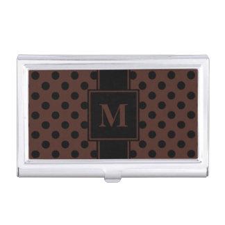 Monogram Black Polka Dot on Brown Business Card Holder