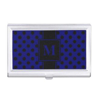 Monogram Black Polka Dot on Dark Navy Blue Business Card Holder