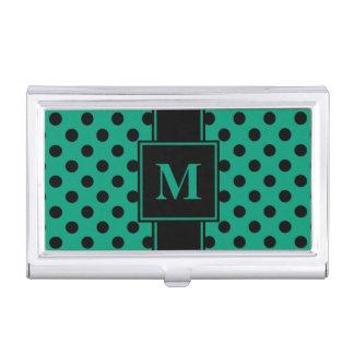 Monogram Black Polka Dot on Emerald Green Business Card Holder