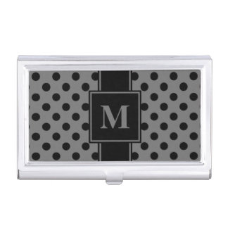 Monogram Black Polka Dot on Gray Business Card Holder