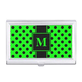 Monogram Black Polka Dot on Lime Green Business Card Holder