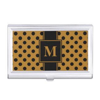 Monogram Black Polka Dot on Matte Gold Business Card Holder