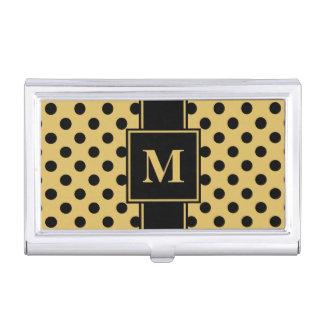 Monogram Black Polka Dot on Misted Yellow Business Card Holder