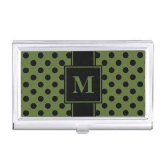 Monogram Black Polka Dot on Olive Green Business Card Holder