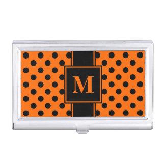 Monogram Black Polka Dot on Orange Business Card Holder