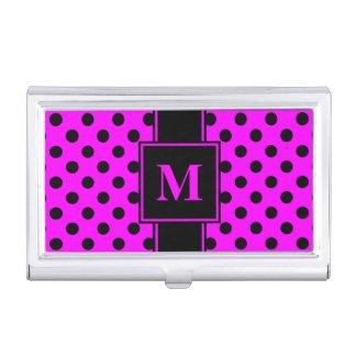 Monogram Black Polka Dot on Pink Business Card Holder