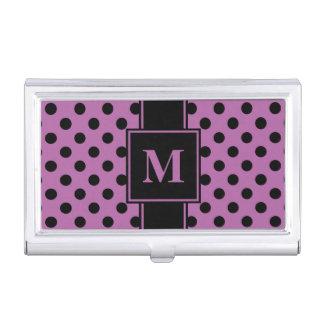 Monogram Black Polka Dot on Radiant Orchid Business Card Holder