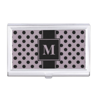Monogram Black Polka Dot on Sea Fog Purple Business Card Holder