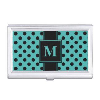 Monogram Black Polka Dot on Verdigris Blue Green Business Card Holder