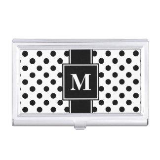 Monogram Black Polka Dot on White Business Card Holder