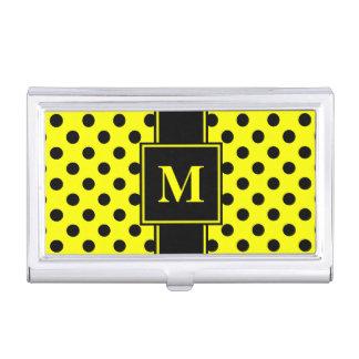 Monogram Black Polka Dot on Yellow Business Card Holder