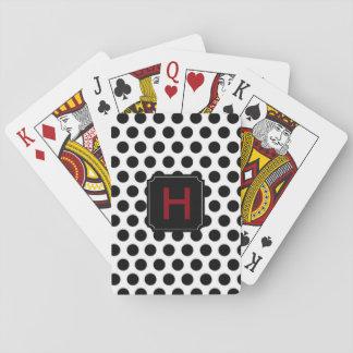 Monogram Black Polka Dot Playing Cards
