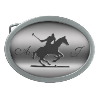 Monogram Black Polo Rider on brushed steel-look Belt Buckle