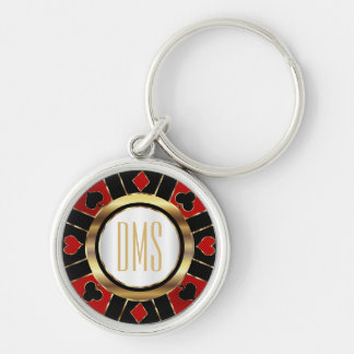 Monogram Black, Red and Gold Las Vegas Style Silver-Colored Round Keychain