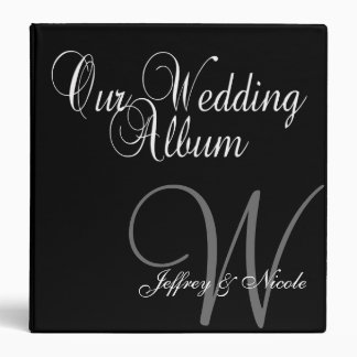 Monogram Black & Silver  Wedding Photo Album 3 Ring Binders
