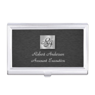 Monogram Black & Sliver Business Card Holder