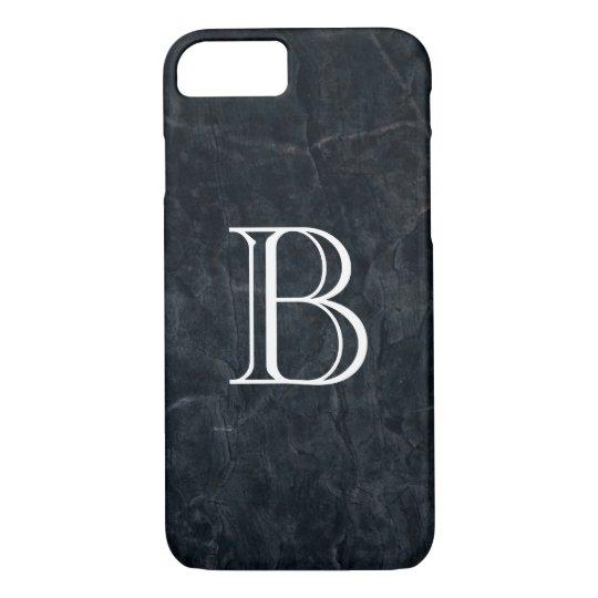 Monogram Black Stone Abstract Grunge Texture iPhone 7 Case