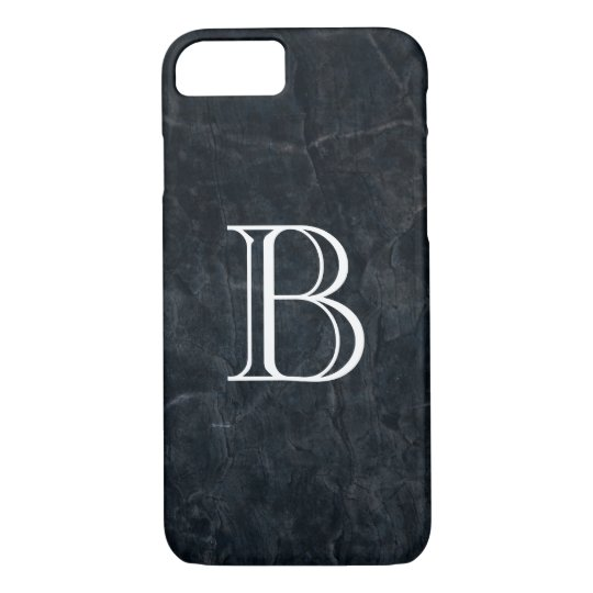 Monogram Black Stone Abstract Grunge Texture iPhone 8/7 Case