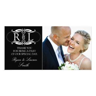 Monogram Black Wedding Photo Thank You Cards Photo Card