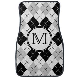 Monogram Black White and Gray Argyle Floor Mats Car Floor Carpet