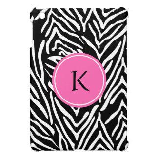Monogram Black, White and Hot Pink Zebra Print iPad Mini Cover