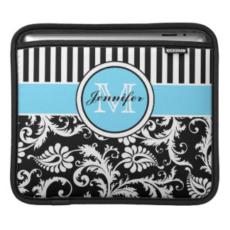 Monogram Black, White, Blue Striped Floral Damask iPad Sleeve