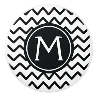 Monogram Black & White Chevron Ceramic Knob