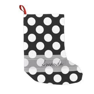 Monogram Black White Chic Polka Dot Pattern Small Christmas Stocking